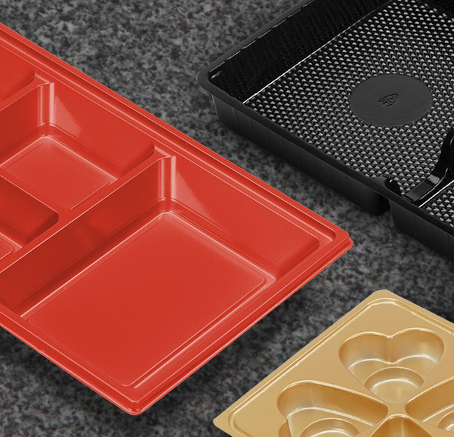 Coloured food grade packaging trays