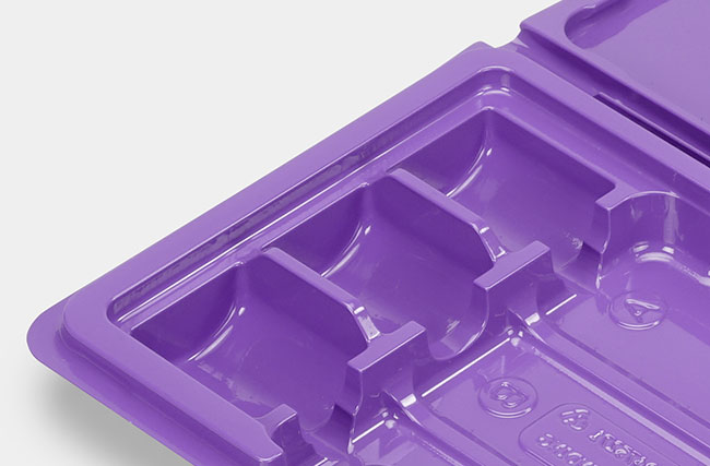 Detail of thermoformed box insert for cosmetics products