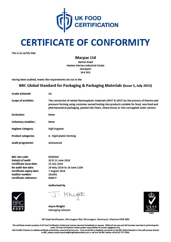 BRC/IOP accreditation certificate