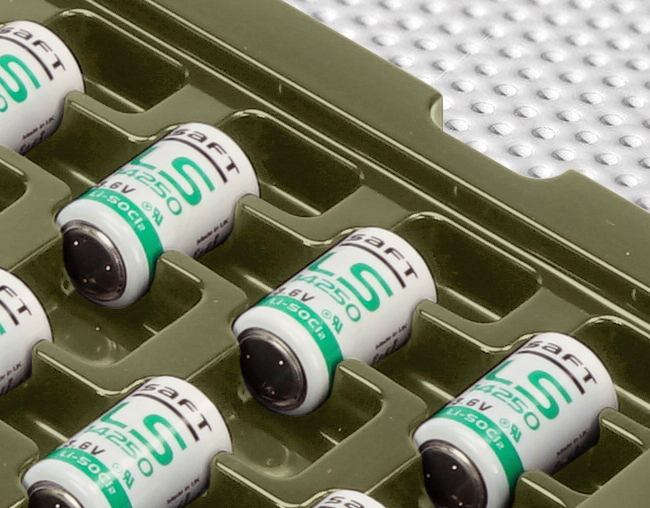 Detail of electronic components in bespoke transit tray